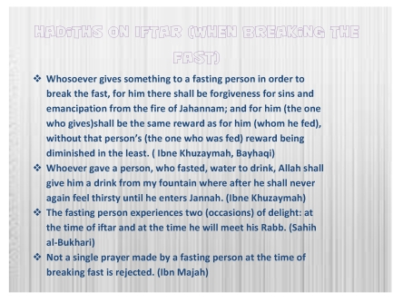 hadiths on iftar
