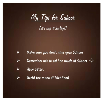mY tips for suhoor
